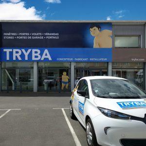 Enseigne lumineuse de l'agence Tryba